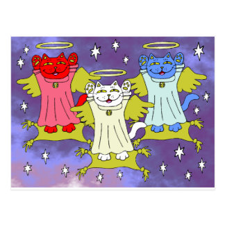 Red, White, and Blue Guardian Angel Nekos Postcard