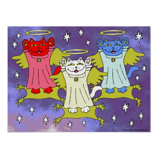 Red, White, and Blue Guardian Angel Nekos Prints Poster