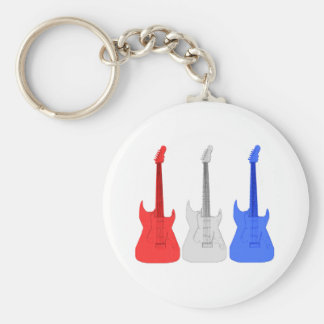 Red White and Blue Guitar Keyring Keychains