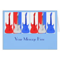 Red White and Blue Guitars Card at Zazzle