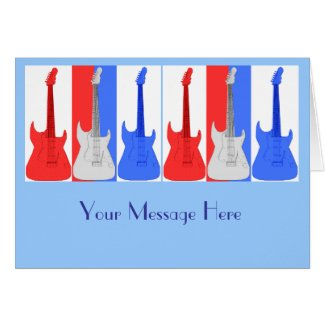 Red White and Blue Guitars Card