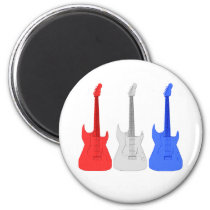 Red White and Blue Guitars Fridge Magnet at Zazzle