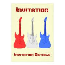 Red White and Blue Guitars Invitation at Zazzle