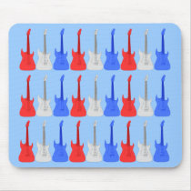 Red White and Blue Guitars Mousepad at Zazzle