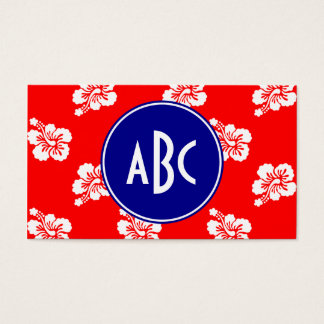 Red White and Blue Hawaiian Monogram Business Card