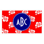 Red White and Blue Hawaiian Monogram Double-Sided Standard Business Cards (Pack Of 100)