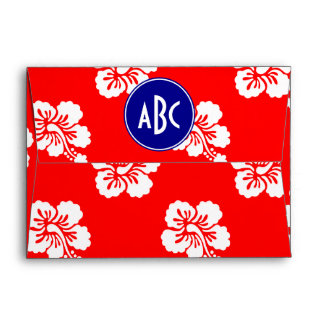 Red White and Blue Hawaiian Monogram Envelope