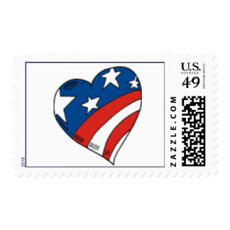 RED,WHITE AND BLUE HEART POSTAGE STAMPS