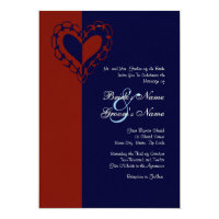 Red, White, and Blue Heart Wedding Invitation