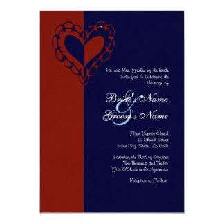 "Red, White, and Blue Heart Wedding Invitation 5"" X 7"" Invitation Card"