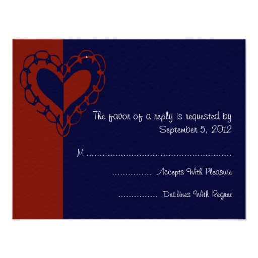 Red, White, and Blue Heart Wedding RSVP Personalized Invitation
