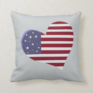 Red White and Blue Heart with Bible Verse Throw Pillow