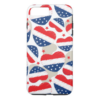 Red, White and Blue Hearts iPhone 7 Plus Case