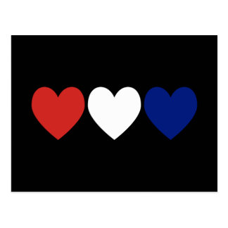 Red White and Blue Hearts Post Card