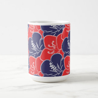 Red, White and Blue Hibiscus Flowers Coffee Mug