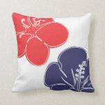Red, White and Blue Hibiscus Flowers Pillow