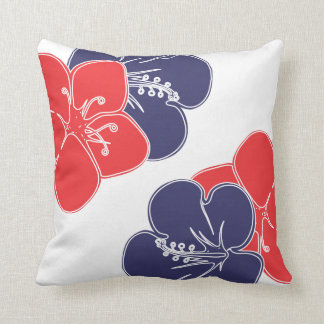 Red, White and Blue Hibiscus Flowers Pillows