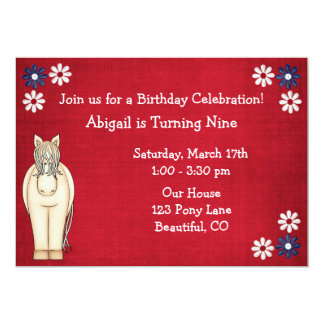 Red White and Blue Horse Flowers Birthday Invite