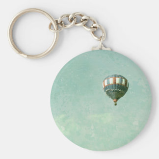 Red White and Blue Hot Air Balloon Basic Round Button Keychain