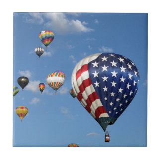 Red, White and Blue Hot Air Balloon Ceramic Tile