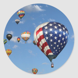 Red, White and Blue Hot Air Balloon Classic Round Sticker