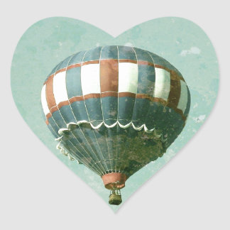 Red White and Blue Hot Air Balloon Heart Sticker