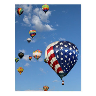 Red, White and Blue Hot Air Balloon Postcard