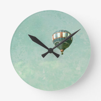 Red White and Blue Hot Air Balloon Round Clock