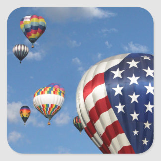 Red, White and Blue Hot Air Balloon Square Sticker