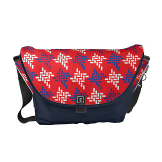 Red White And Blue Houndstooth Pattern Custom Commuter Bags
