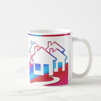 Red, White, And Blue Houses Custom Real Estate Mug