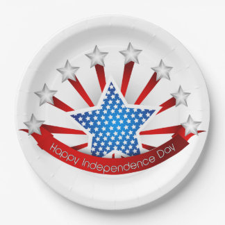 Red White and Blue Independence Day Paper Plate