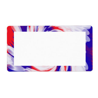 red white and blue shipping label