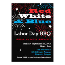 Red White and Blue Labor Day BBQ Invitation