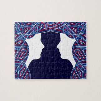 Red, White and Blue Ladies Jigsaw Puzzle