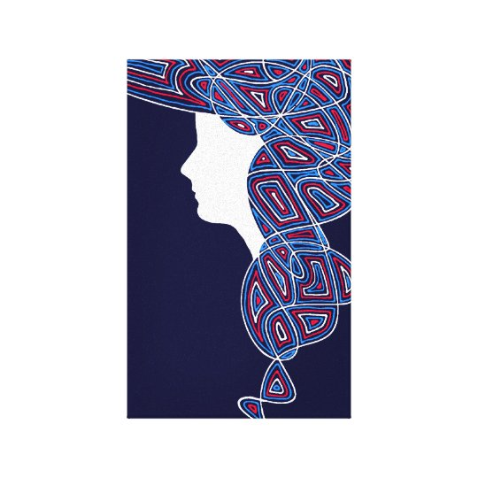 Red, White and Blue Lady Canvas Print