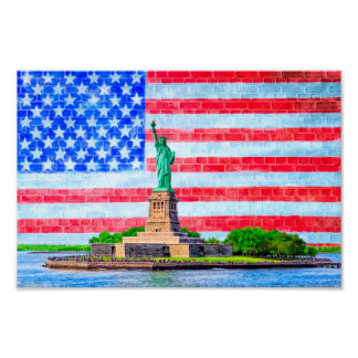 Red White And Blue Lady Liberty - 12x8 Archival Poster