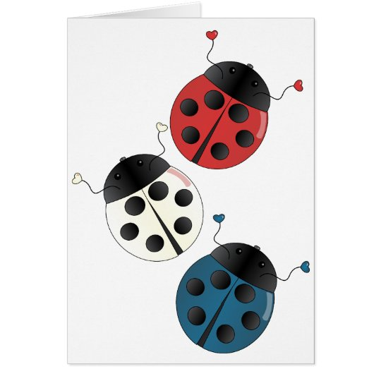 Red White and Blue Ladybugs Card