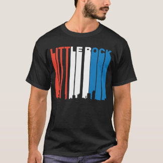 Red White And Blue Little Rock Arkansas Skyline T-Shirt