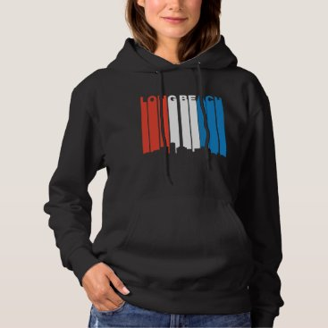 Beach Themed Red White And Blue Long Beach California Skyline Hoodie