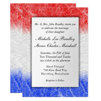 Red White and Blue Marble Wedding Invitations
