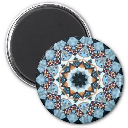 Red, white and blue medallion 2 inch round magnet