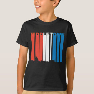 Red White And Blue Middletown Connecticut Skyline T-Shirt
