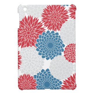 Red White and Blue Modern Spring Flowers iPad Mini Cases