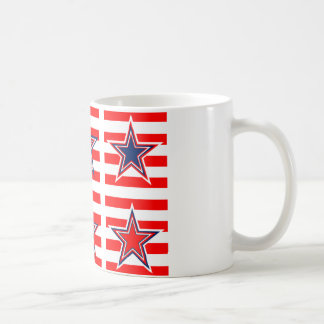 red,white and blue coffee mug