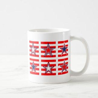 red,white and blue mug