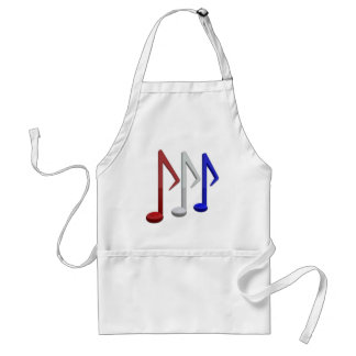 Red White and Blue Music Notes Adult Apron