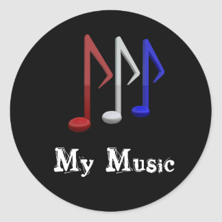 Red White and Blue Music Notes Classic Round Sticker