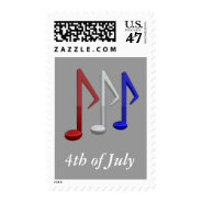 Red White and Blue Music Notes for 4th July Stamp at Zazzle