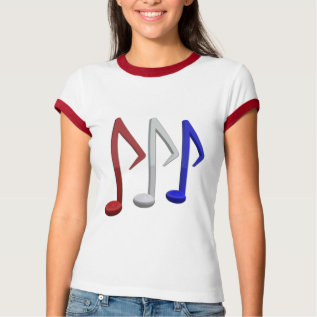Red White And Blue Music Notes T-shirt at Zazzle
